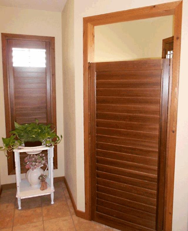 dark brown wooden shutters bathroom ideas Austin 78758