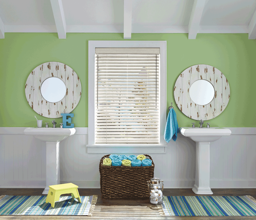 green bathroom design ideas shutters Austin 78758