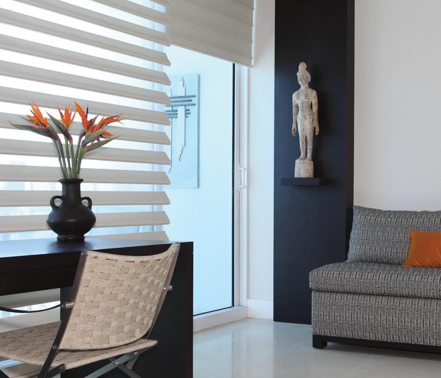 gray white living room pirouette shades Hunter Douglas Austin 78758