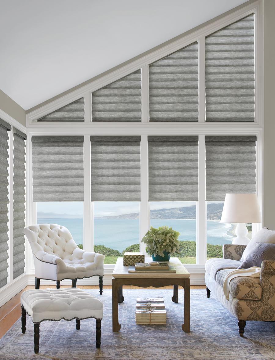 grey white living room vignette roman shades Hunter DouglasAustin 78758