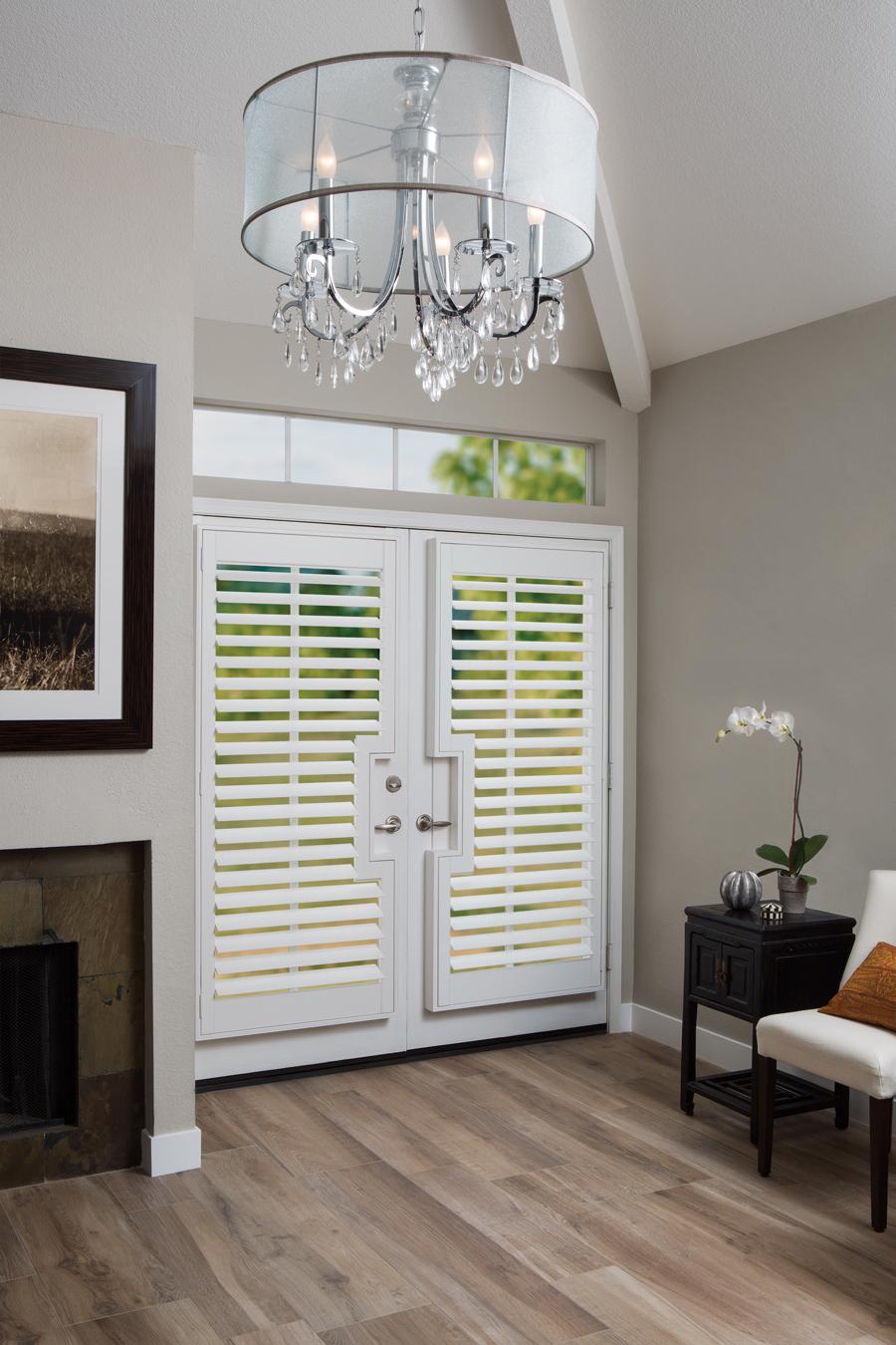beige white entry way white shutters for doors Hunter Douglas Austin 78758