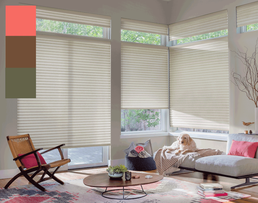 trending colors of 2019 living coral living room honeycomb shades Hunter Douglas Austin 78758