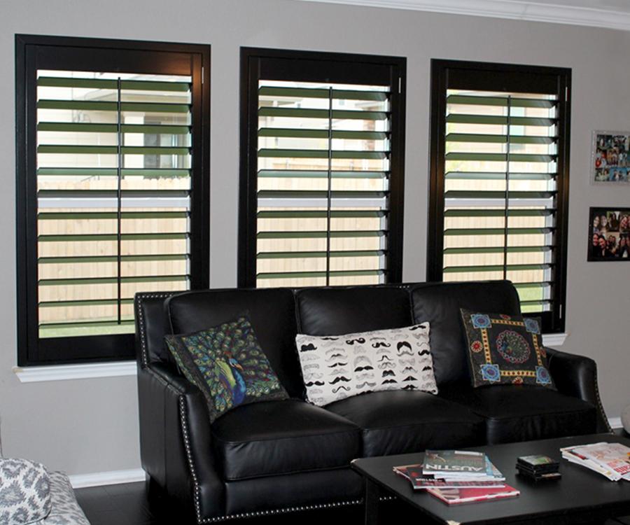 living room black plantation shutters Hunter Douglas Austin 78758
