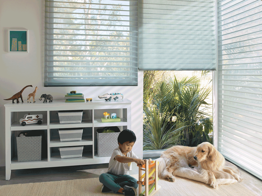 child and pet safe silhouette shades for dog owners Hunter Douglas Austin 78758