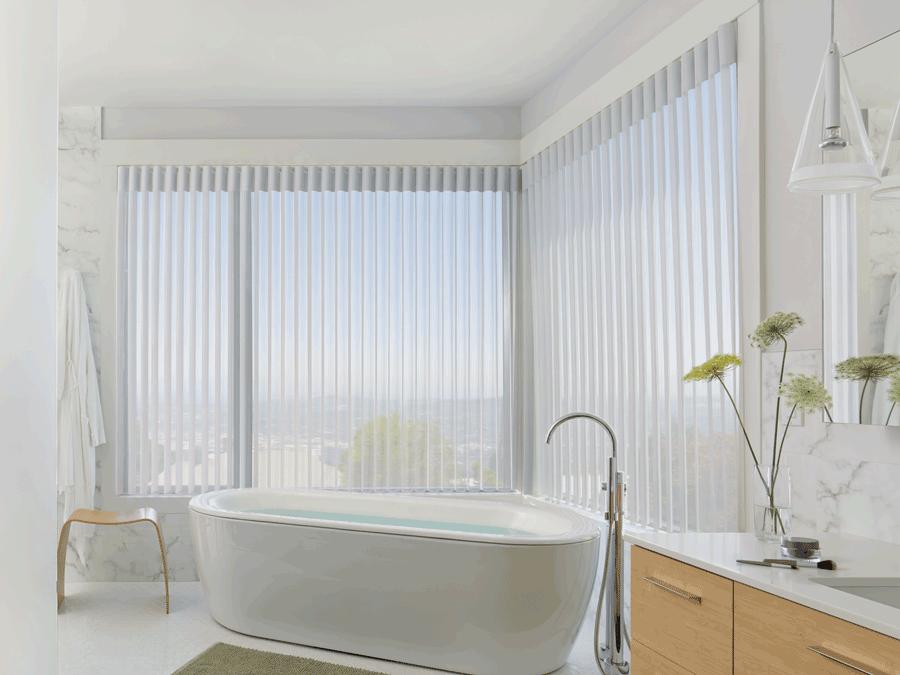 bathroom luminette sheer shades for floor to ceiling windows Hunter Douglas Austin 78758