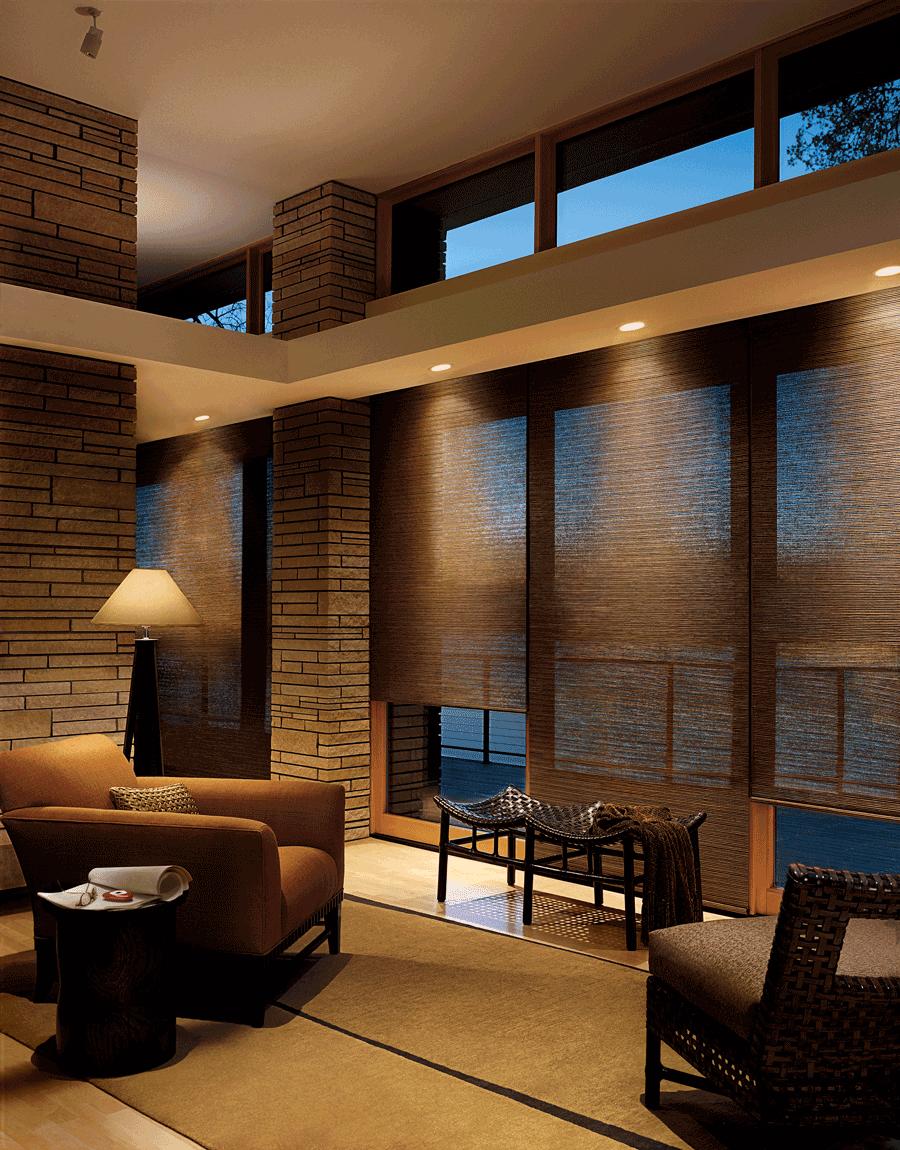 family room motorized designer roller shades for floor to ceiling windows Hunter Douglas Austin 78758