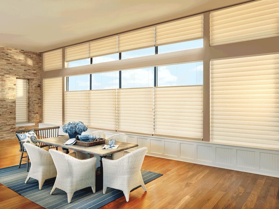 dining room top down bottom up vignette modern roman shades for floor to ceiling windows Hunter Douglas Austin 78758