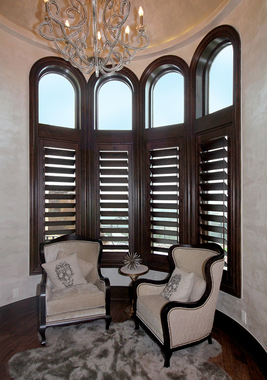 Specialty Shaped Knotty Alder Shutters Austin 78738