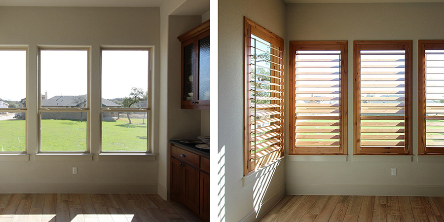 Before and After Knotty Alder Shutters Leander 78641
