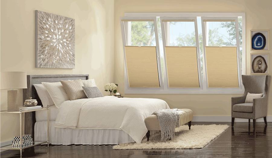 bedroom top down bottom up track glide duette honeycomb shades Hunter Douglas Austin 78758
