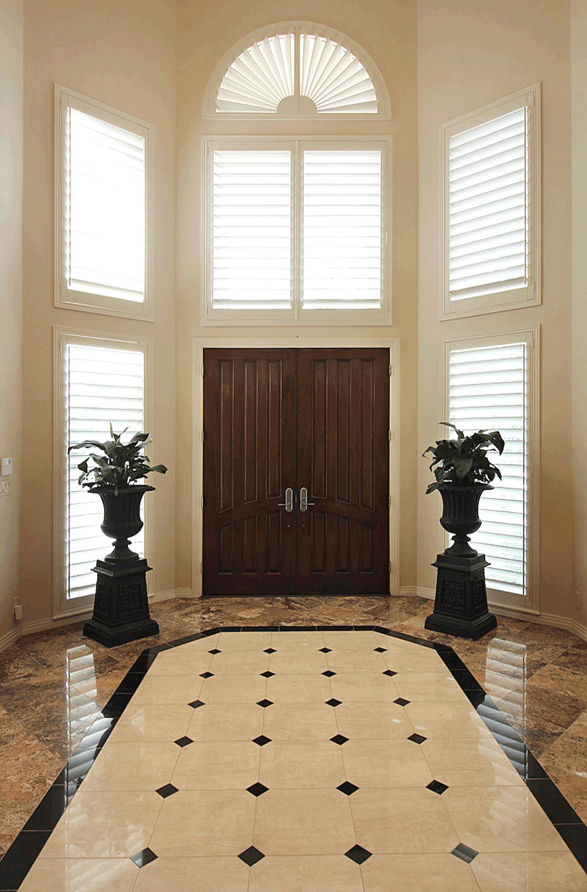 entryway plantation shutters window treatments for arched windows Austin TX