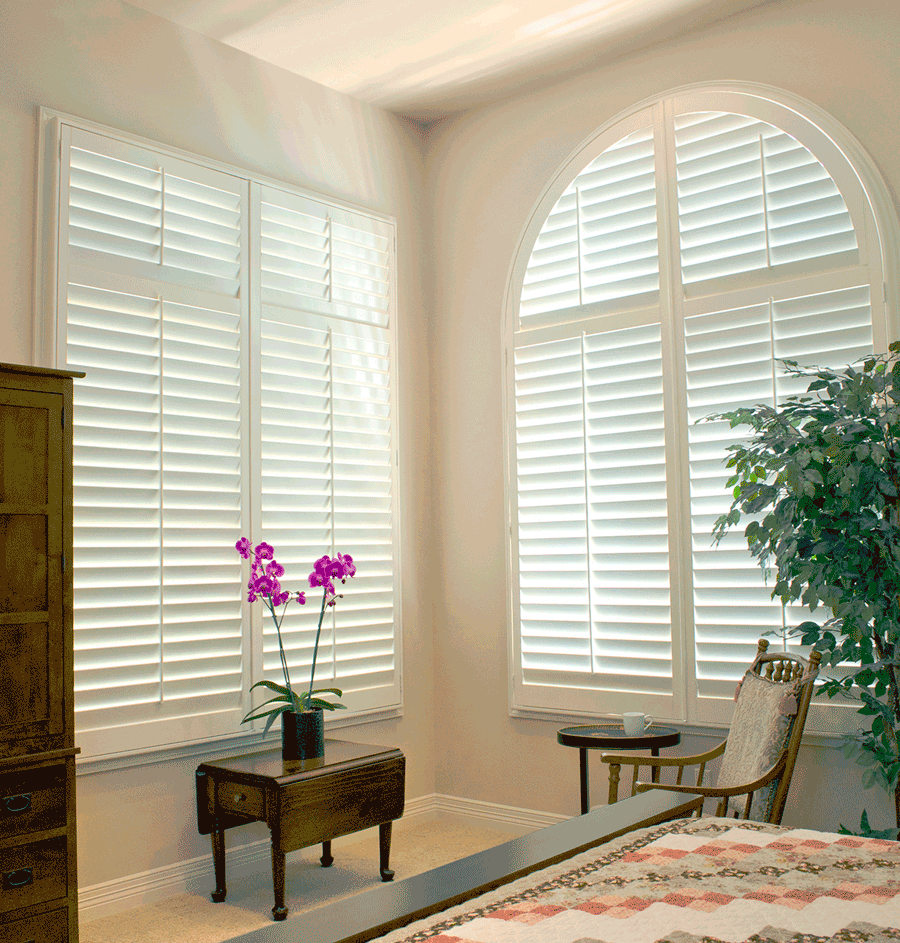 living room window treatments for arched windows white plantation shutters Austin TX