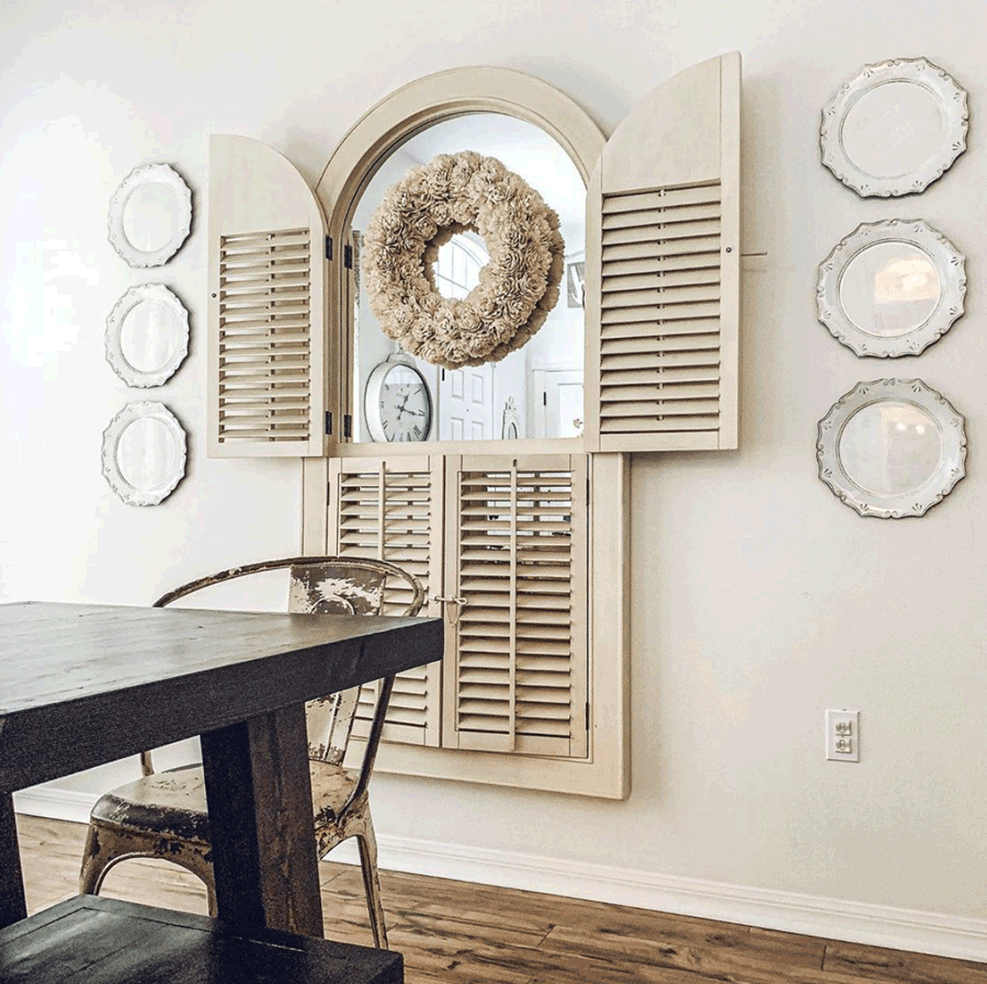 dining room white decor accent wall shutters mirrors style statements