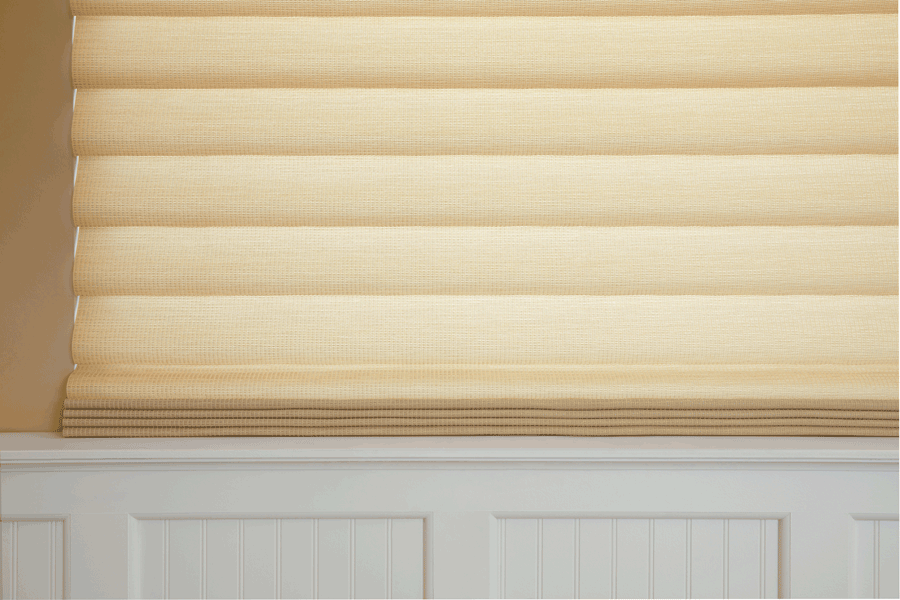 Close up of modern roman shades used to cut the glare