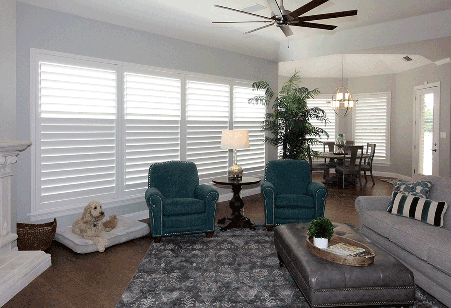 austin texas living room with plantation shutters split tilt operation