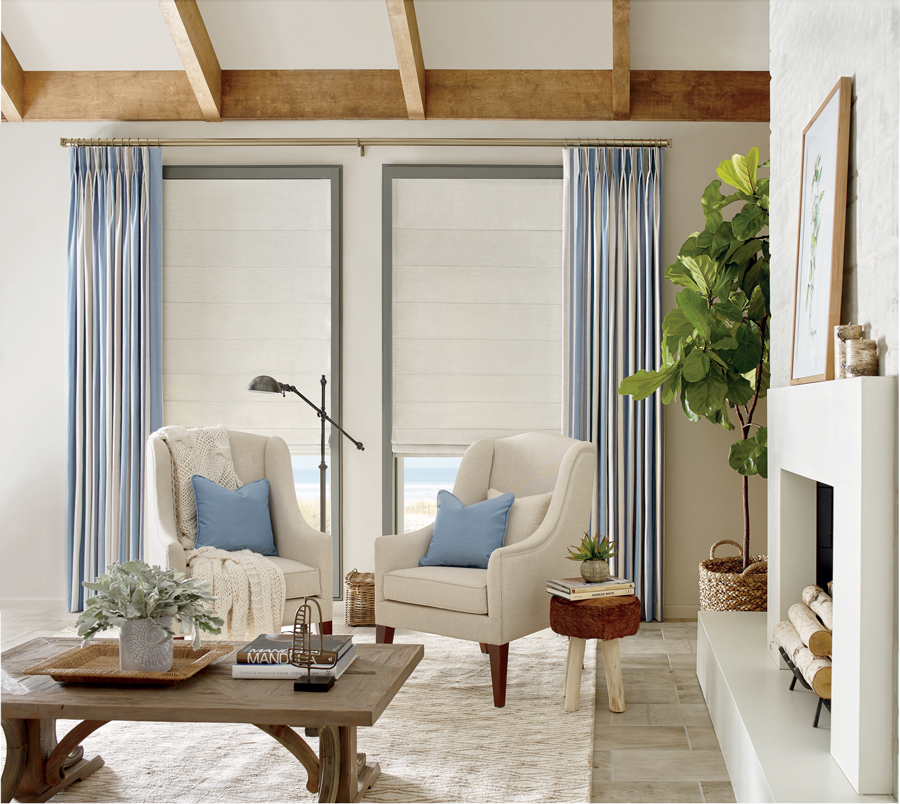 Adding layers to your window treatments will add an extra softness and personality to any room