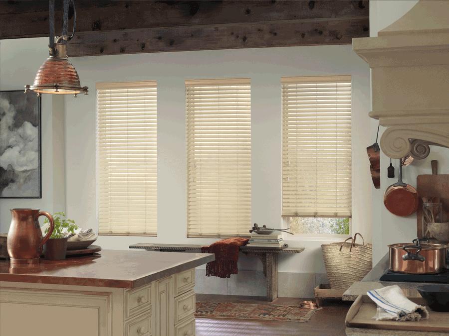 faux wood blinds set kitchen scene austin tx