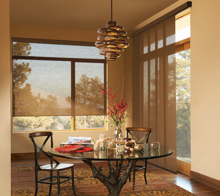 Austin home with screen shades to reduce glare during changing season.