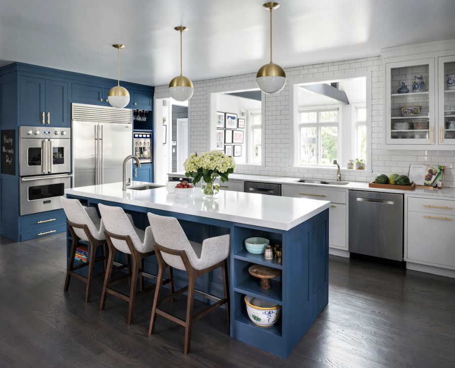 blue cabinets with white cabinets in kitchen color of the year 2020