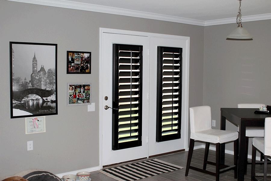 black french door shutters on white french doors Austin TX