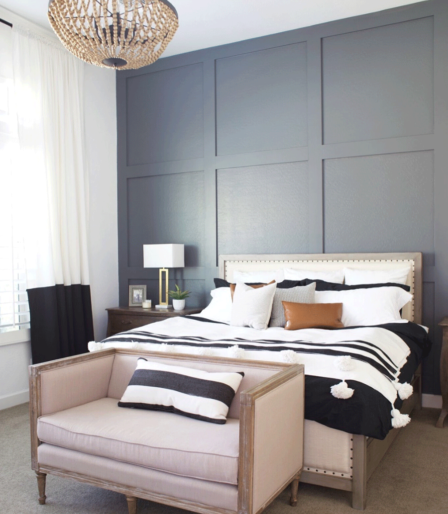 Board and batten is the perfect feature wall in this bedroom.
