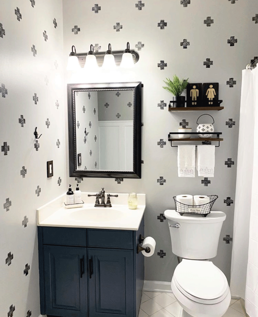 Stenciling in this bathroom adds the perfect accent to the walls.