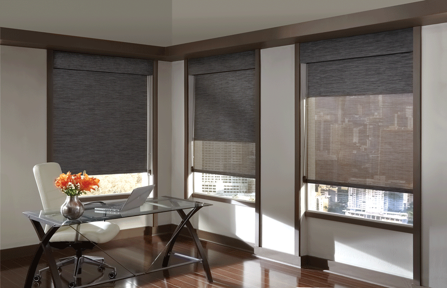 Add black dual roller shades into your home office.