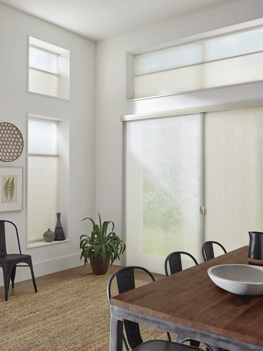 Sliding doors and side window with Cellular Shades/