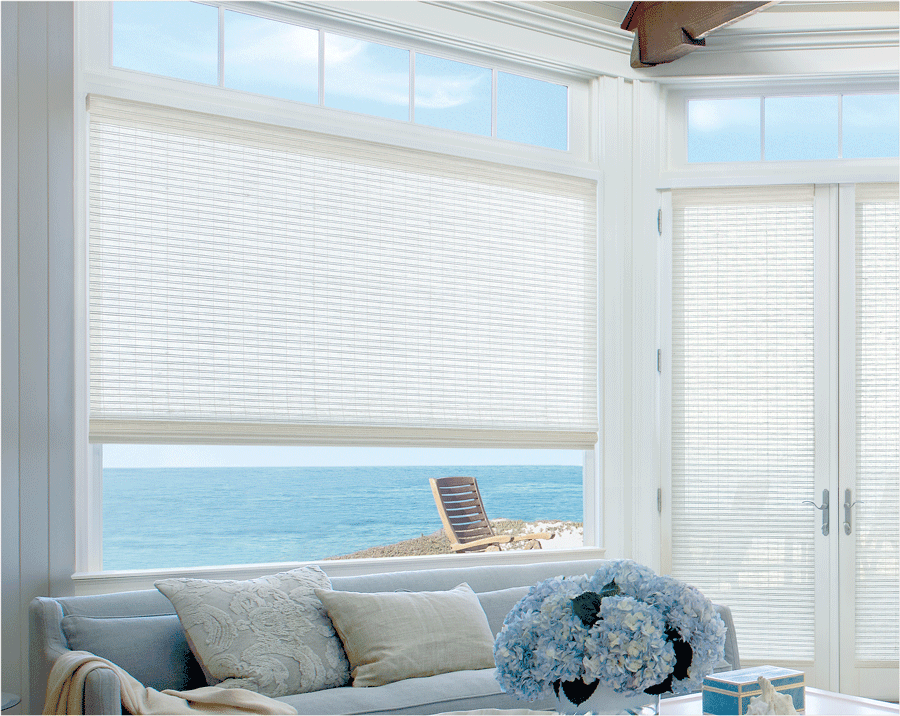 Provenance Woven Woods on French doors and side window.