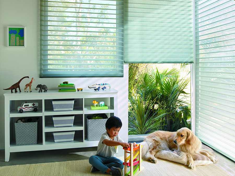 Cordless blinds are safer for kids and pets in the playroom