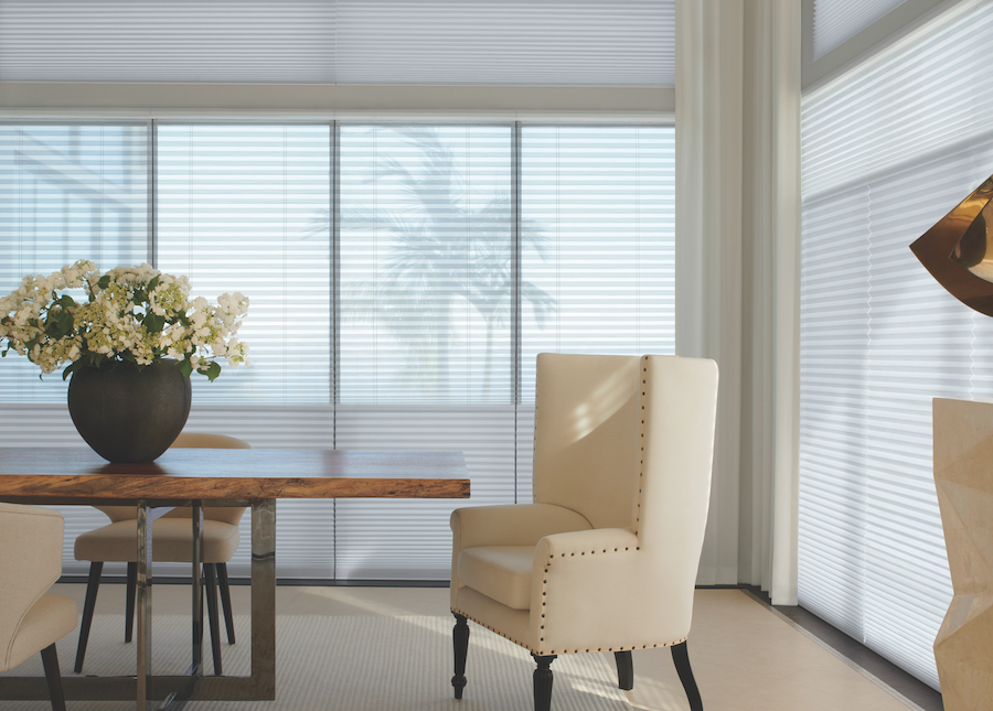 Alustra Duette Honeycomb Shades in dining room.