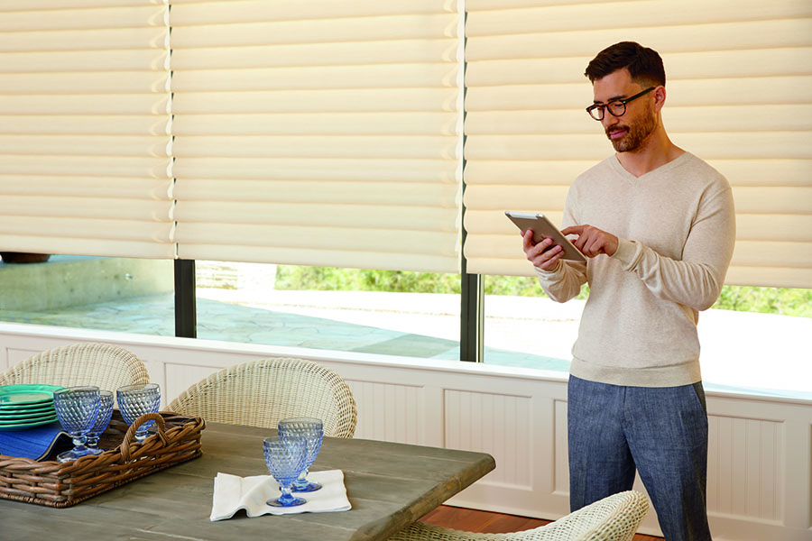 Automatic shades can be controlled from an app or via remote