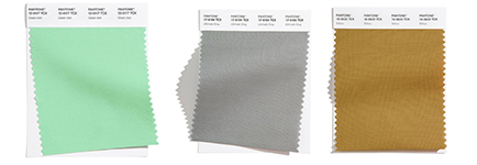 Green and gray color swatches for kitchen.