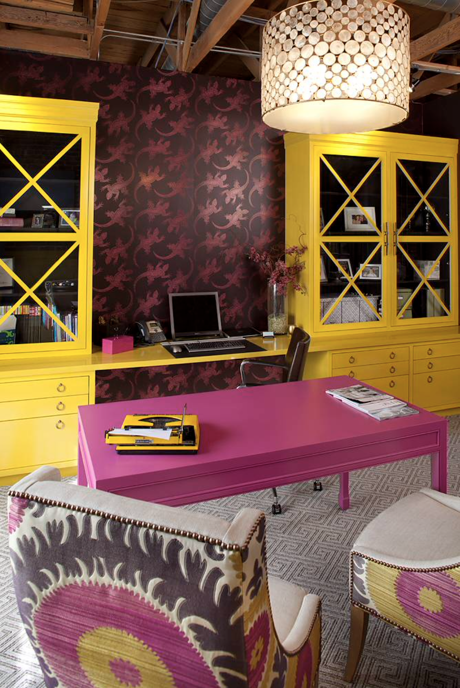 Vibrant built-ins with contrasting colors.