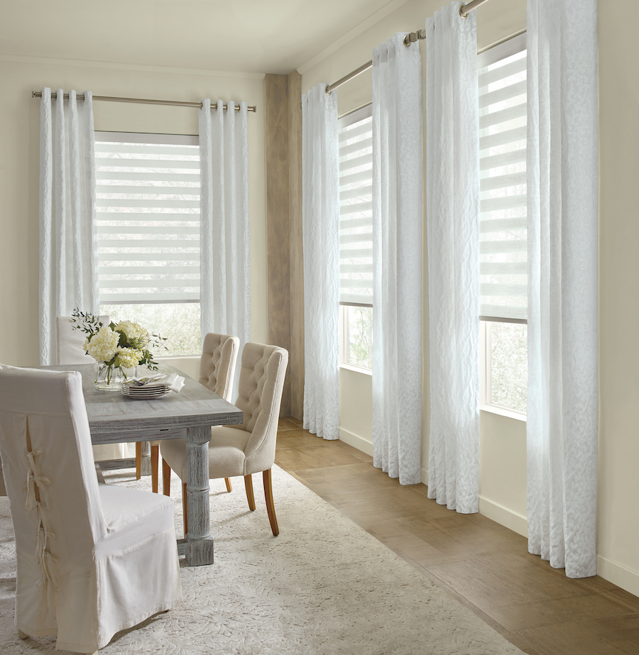 white dining room neutral sophisticated modern austin