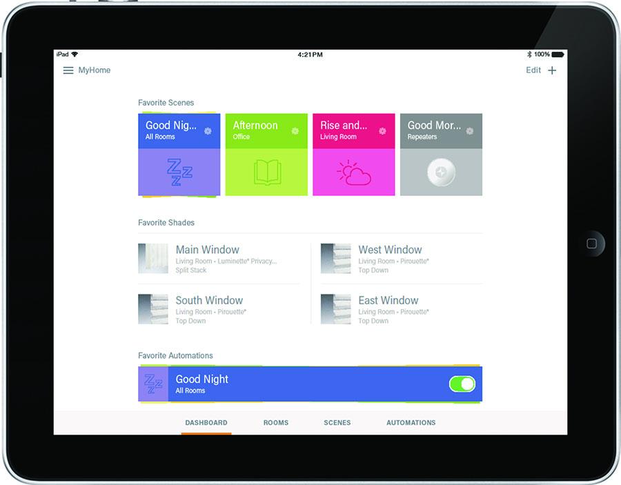 ipad screenshot of smart shades app