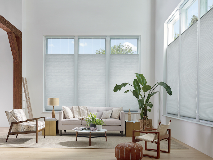 living room in Austin TX with top down cellular shades