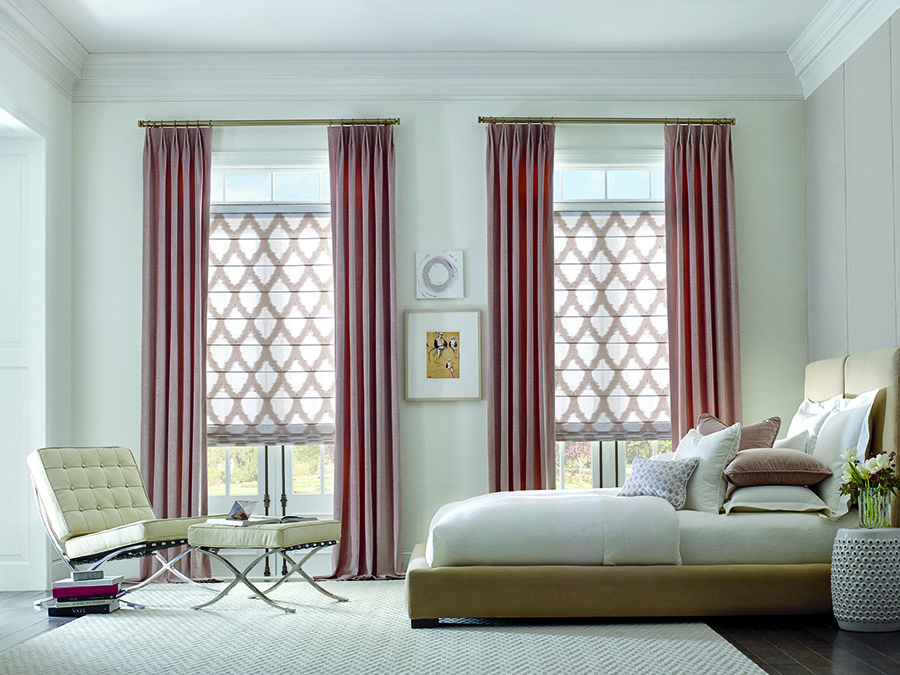 pink patterned roller shades