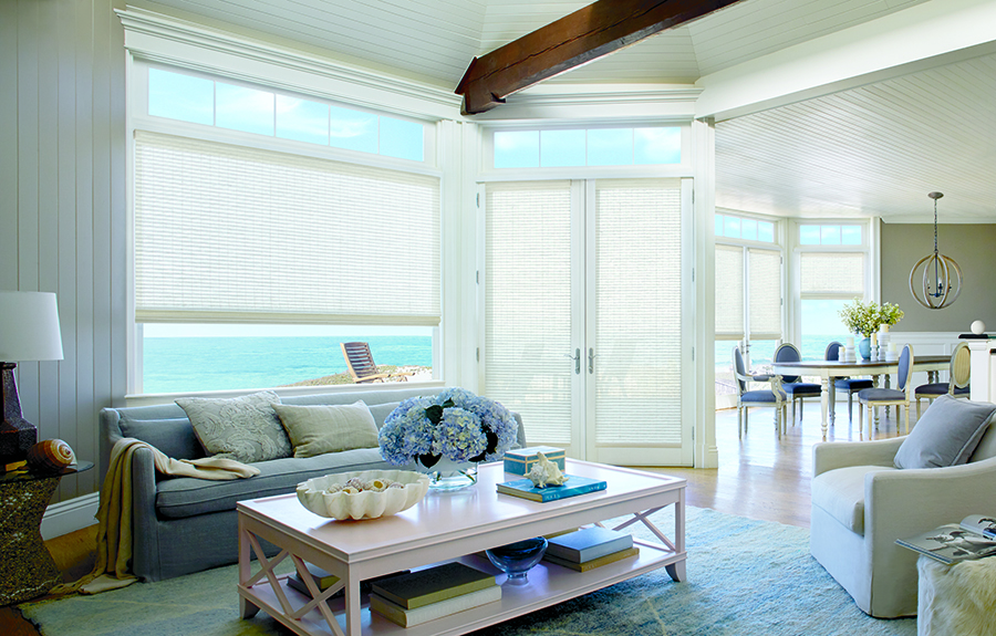 Woven wood shades on set of french doors.