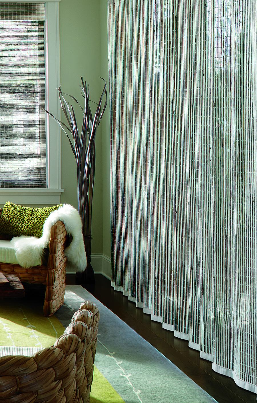 Woven wood shades on sliding glass doors.