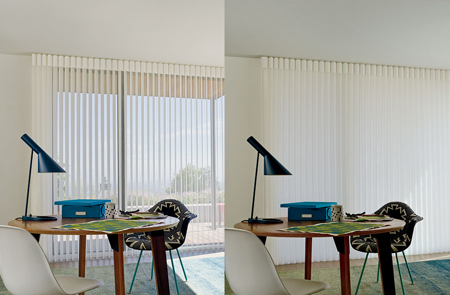 Austin TX home office with sheer vertical window coverings