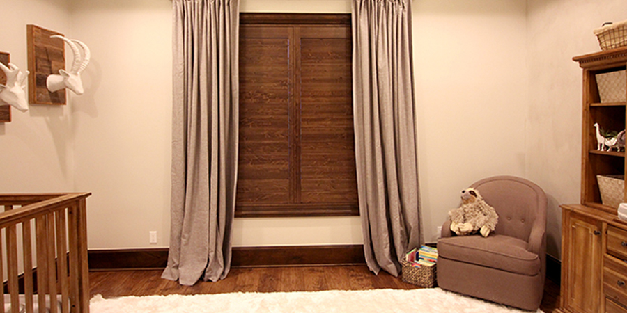nursery knotty wood natural wood shutters Hunter Douglas Austin 78758