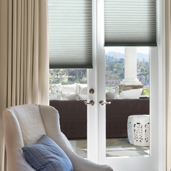 Hunter Douglas window covering solutions duette honeycomb shades for french doors Austin TX