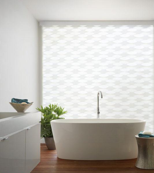bathroom large window shades Hunter Douglas designer banded roller shades Austin TX
