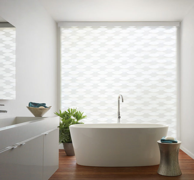 bathroom large window shades Hunter Douglas designer banded roller shades Austin TX