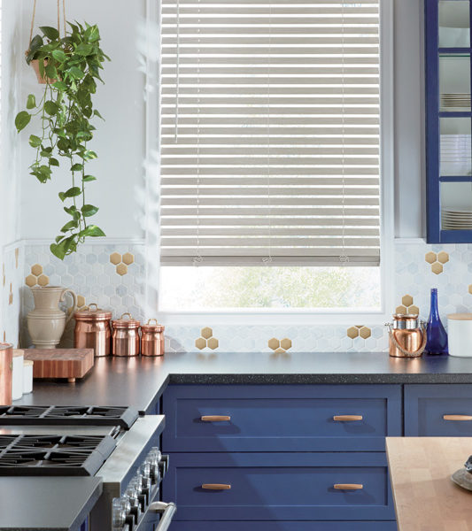 kitchen white faux wood blinds Austin TX