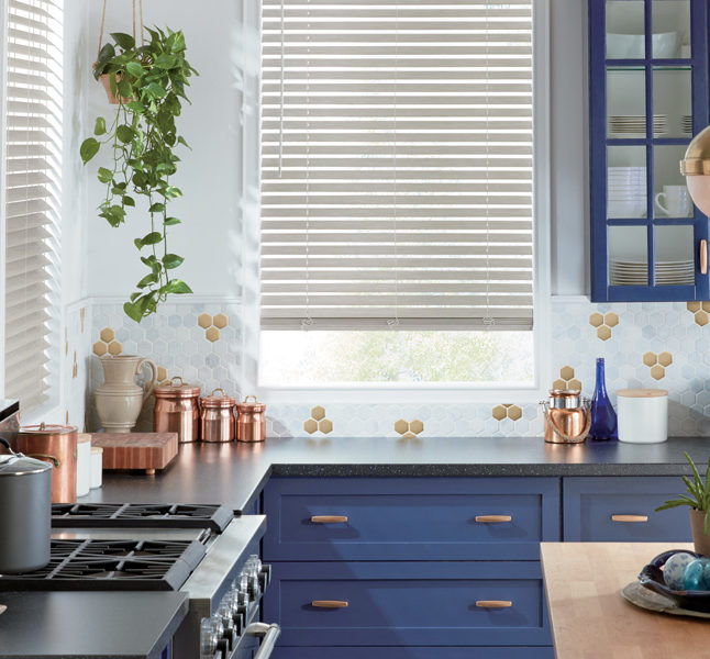 kitchen white faux wood blinds Austin TX