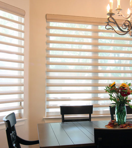 contemporary Dining room with Pirouette window shades Austin TX