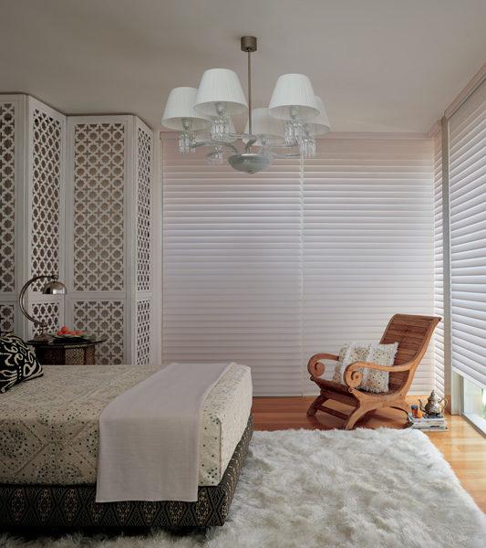 Hunter Douglas silhouette shades bedroom room darkening blinds Austin TX