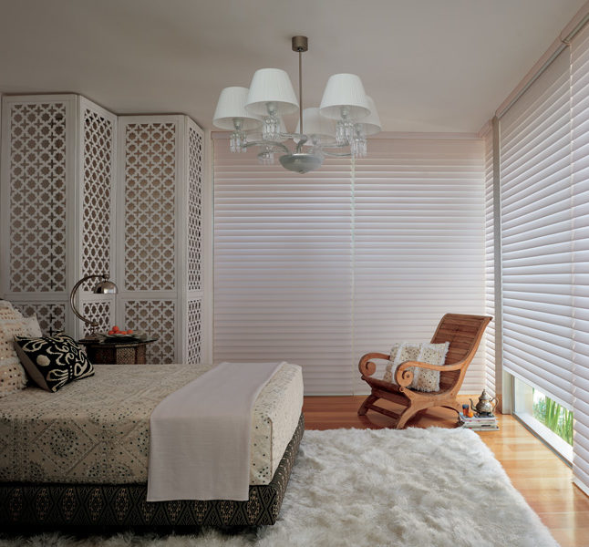 Hunter Douglas silhouette shades bedroom room darkening blinds Austin TX